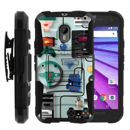 TurtleArmor ® | For Motorola Moto G 3rd Generation (2015) [Hyper Shock] Hybrid Dual Layer Armor Holster Belt Clip Case Kickstand - Gaming Icons