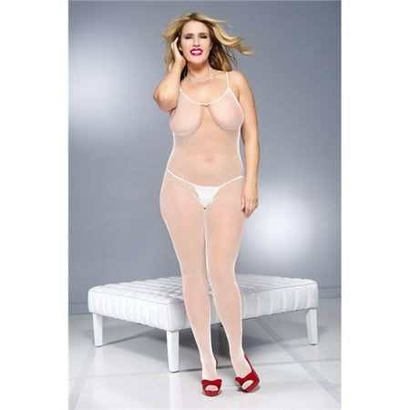 Music Legs 1891Q-WHITE Plus Size Fishnet Crotchless Bodystocking with Cross Back Strap, White - image 1 of 1