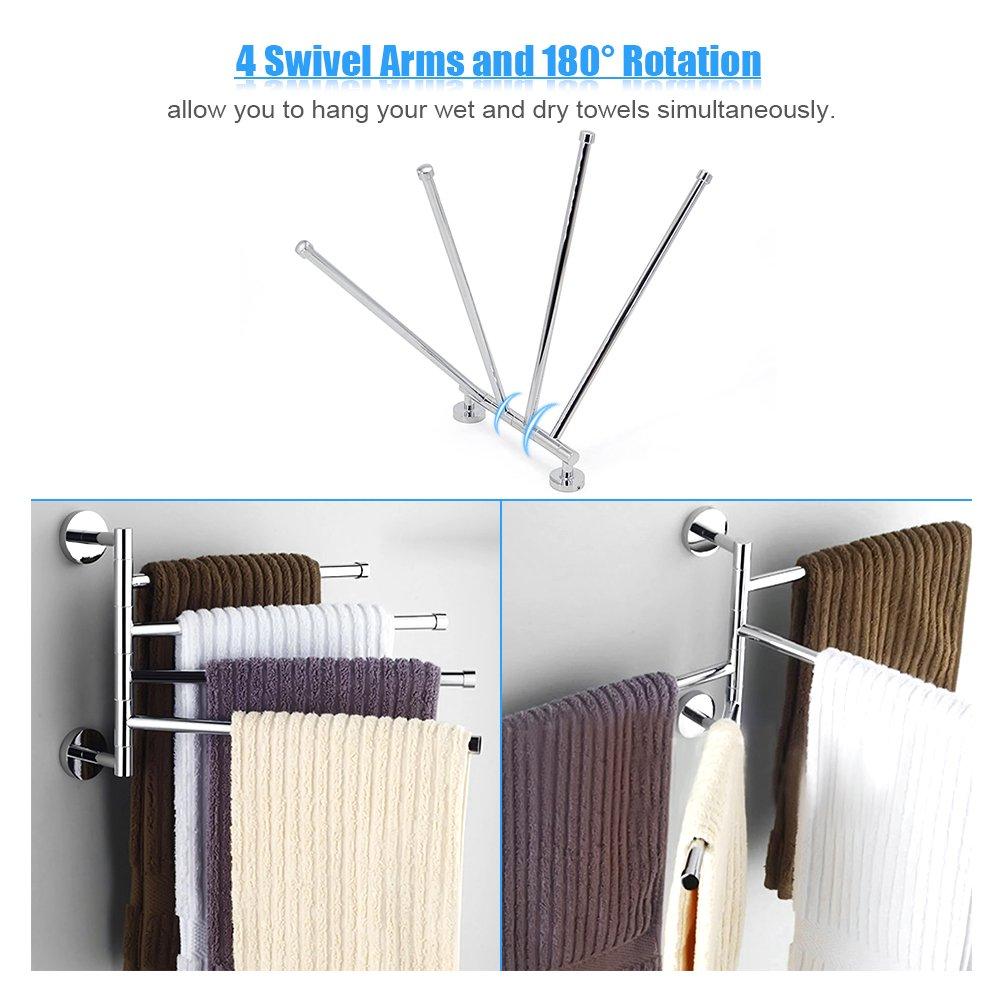 Space Saving Wall Mounted Stainless Steel Swivel Bar Towel Rack Multifunctional Bath Towel Holder Bathroom Towel Rack Towel Bar Walmart Canada
