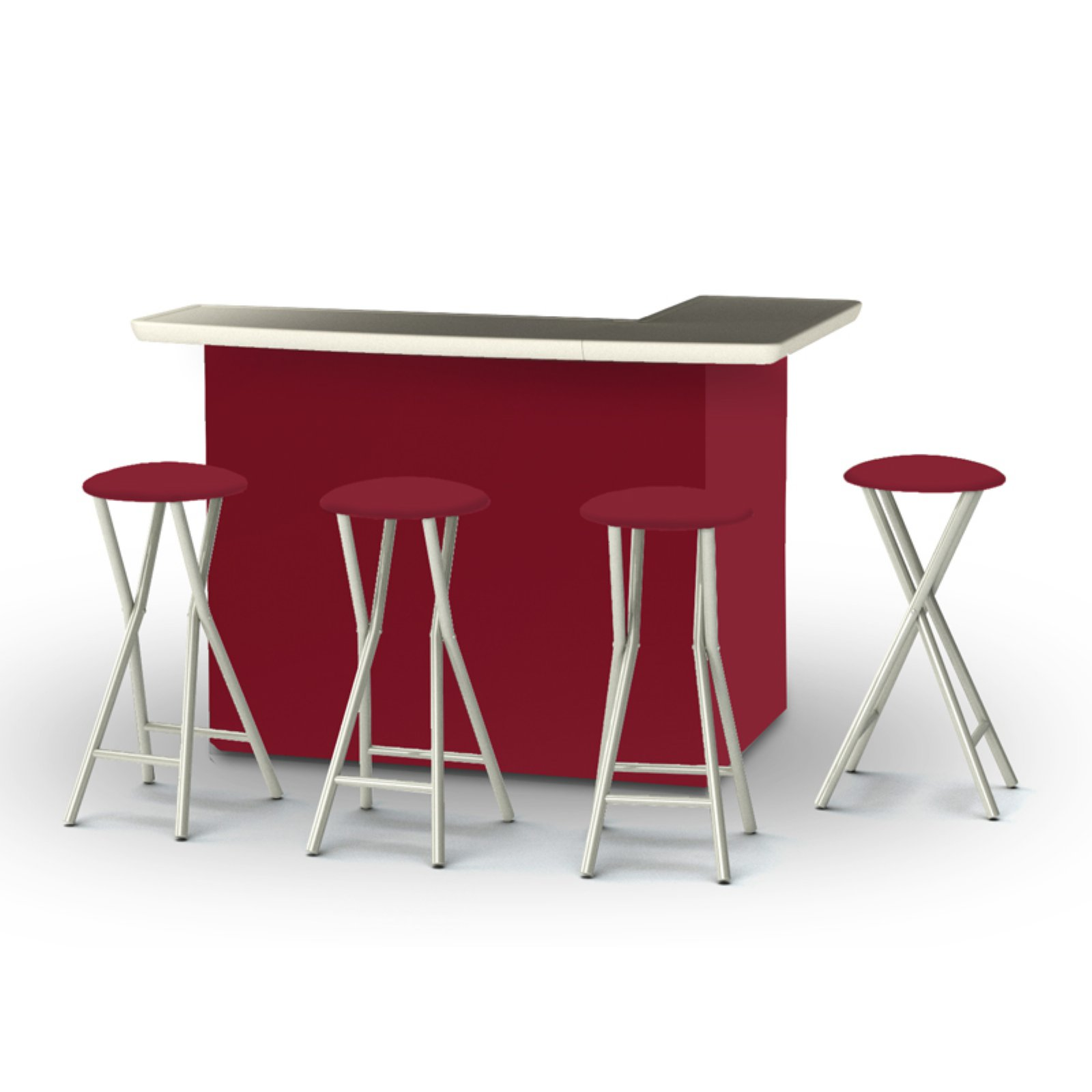 Best of Times Solid Patio Bar and Tailgating Center with 4 Bar Stools