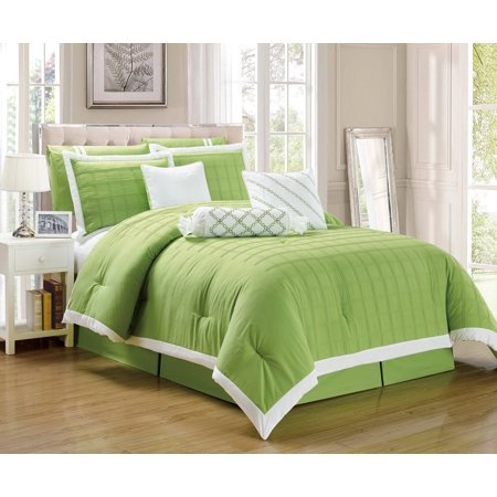 Legacy Decor 9 Pc Pleated Microfiber Comforter Set Lime Green And White Color King Size