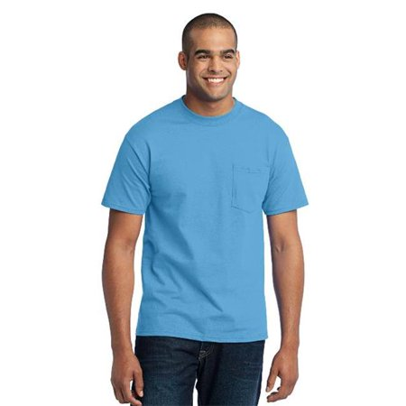 PC55P Mens Core Blend Pocket Tees, Aquatic Blue - Extra Large