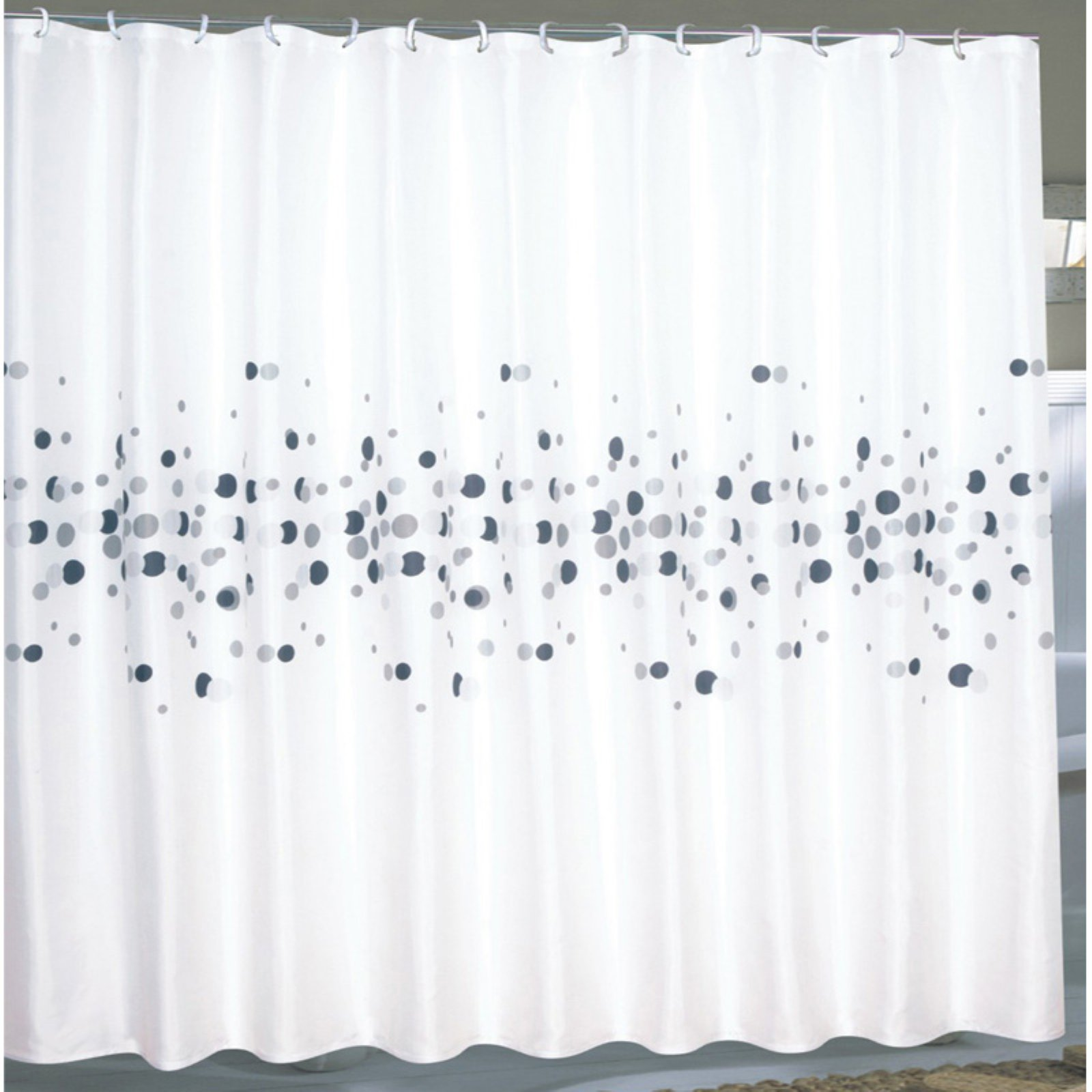 "Extra Wide ""Dots"" Fabric Shower Curtain"