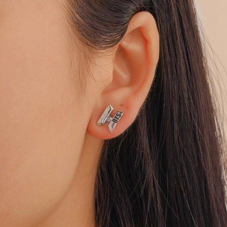Women Temperament Personality Bst Letter H Earrings Women Fashion Personality Wild Earrings Jewelry - image 6 de 7