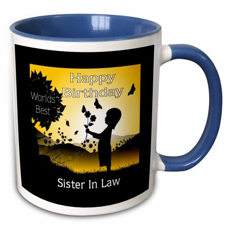 3dRose Image of Happy Birthday Sister In Law In Silhouette And Yellow - Two Tone Blue Mug, 11-ounce ()