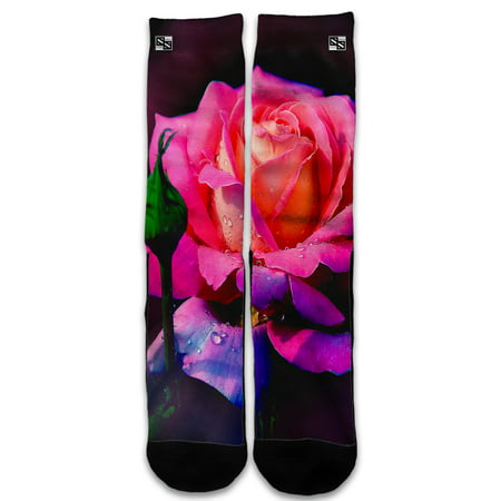 - Custom Elite Style Athletic Sport Socks Crew 18 Inch / Beautiful Rose Flower Pink Purple