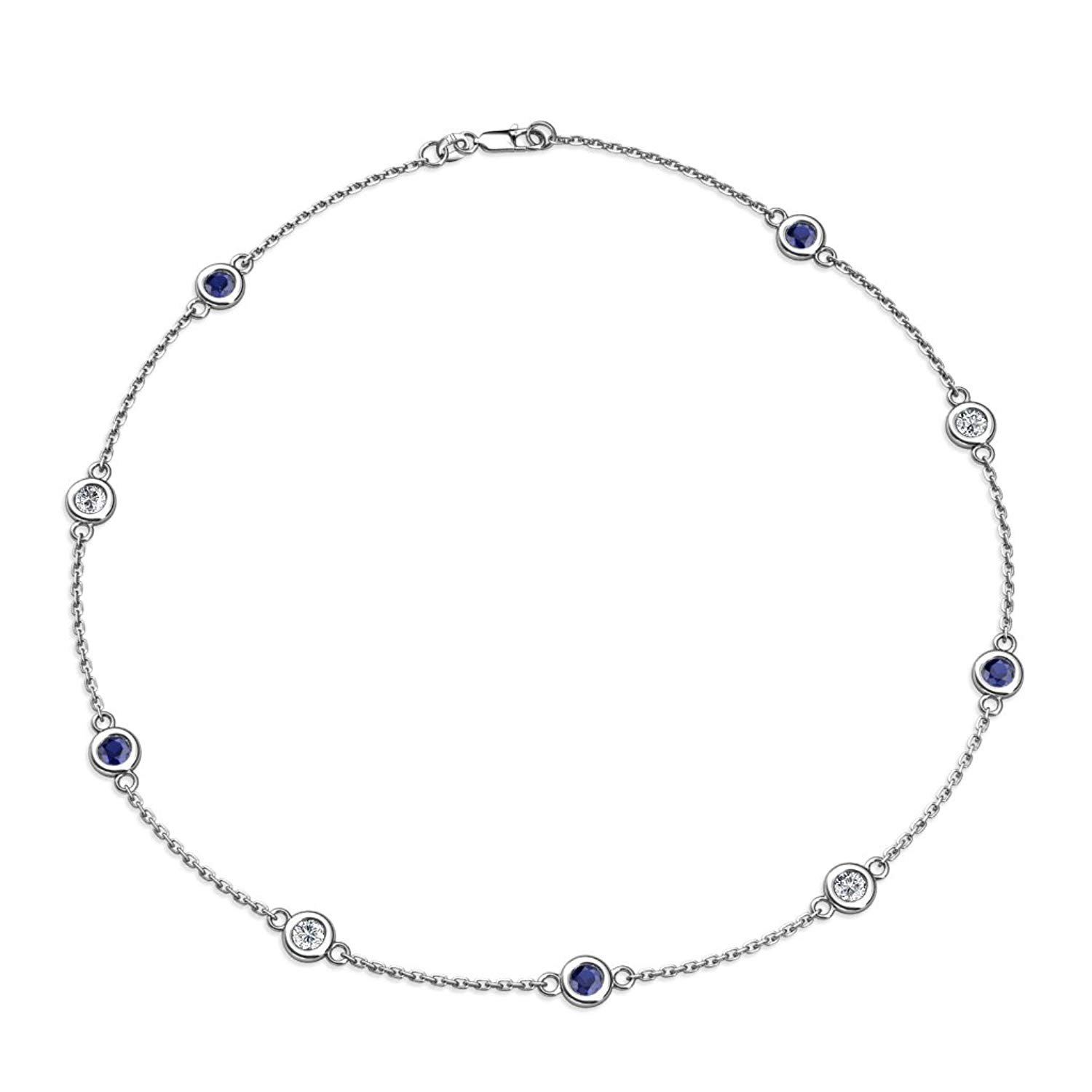 Blue Sapphire and Diamond (SI2-I1, G-H) 9 Station Necklace 2.31 cttw in 14K White Gold by TriJewels