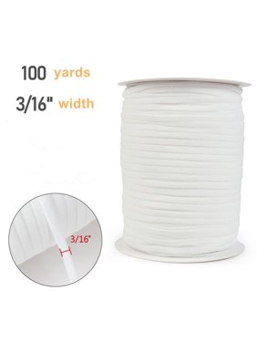 LaRibbons 3/16 inch Width 100 yards White Elastic Braided Elastic Band Cord Knit Band for Sewing DIY Mask Bedspread
