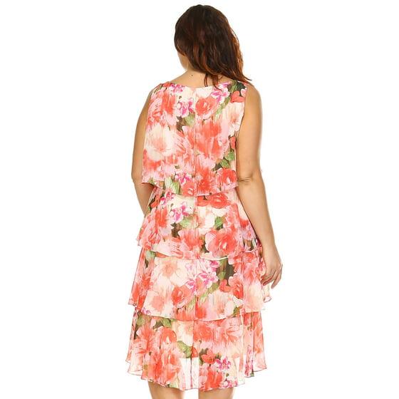 2056314a964 SLNY - SLNY Women s Plus Size Floral Layered Chiffon Dress - Coral ...