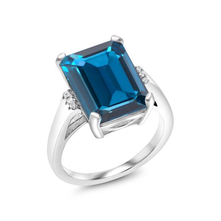Emerald Cut Accent (925 Sterling Silver 8.57 Ct Emerald Cut London Blue Topaz With Accent Stone Ring)