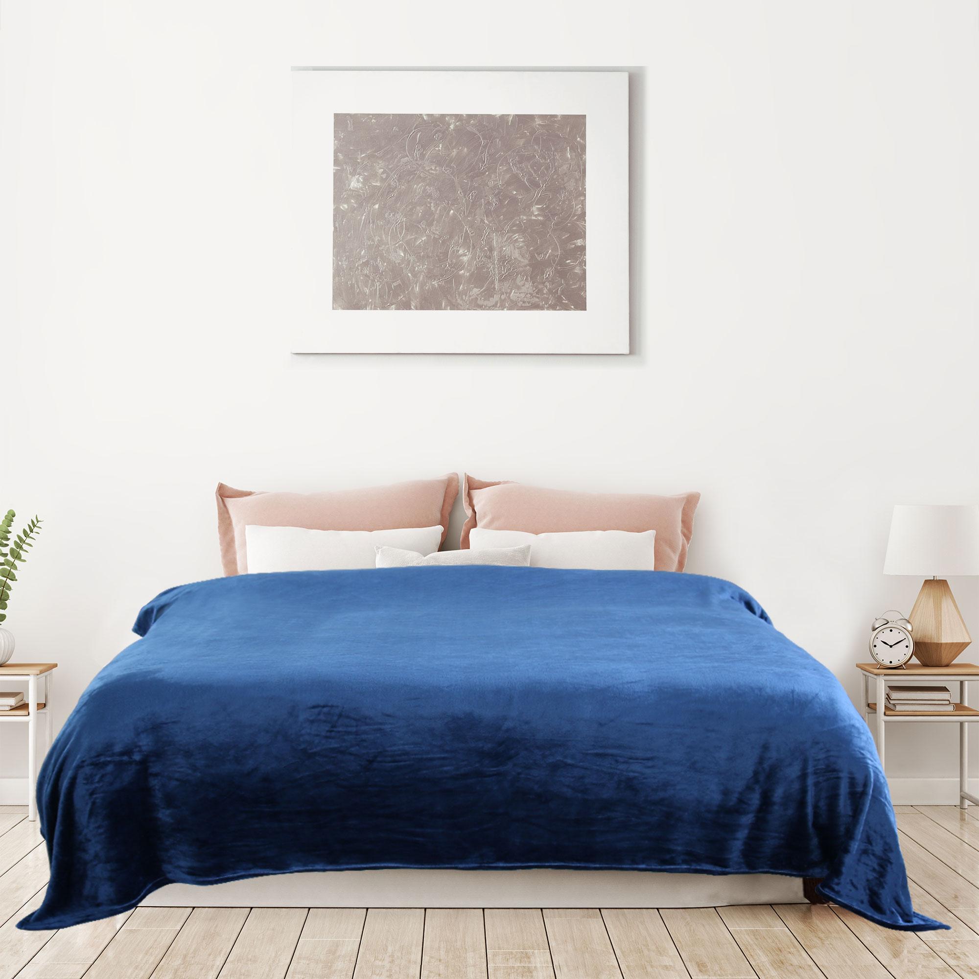 Solid Navy Blue Blanket Bedding Throw Flannel King Super Soft Warm Best Value