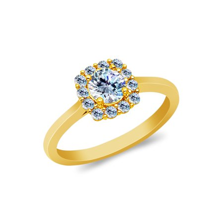 14K Yellow Solid Gold 1 Ct. Round Cut Cubic Zirconia CZ Wedding Engagement Ring - size 6.5