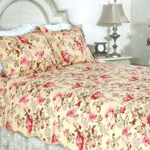Cozy Line Home Fashion Lelia Pink Rose Cottage 3 Piece Reversible Quilt Set