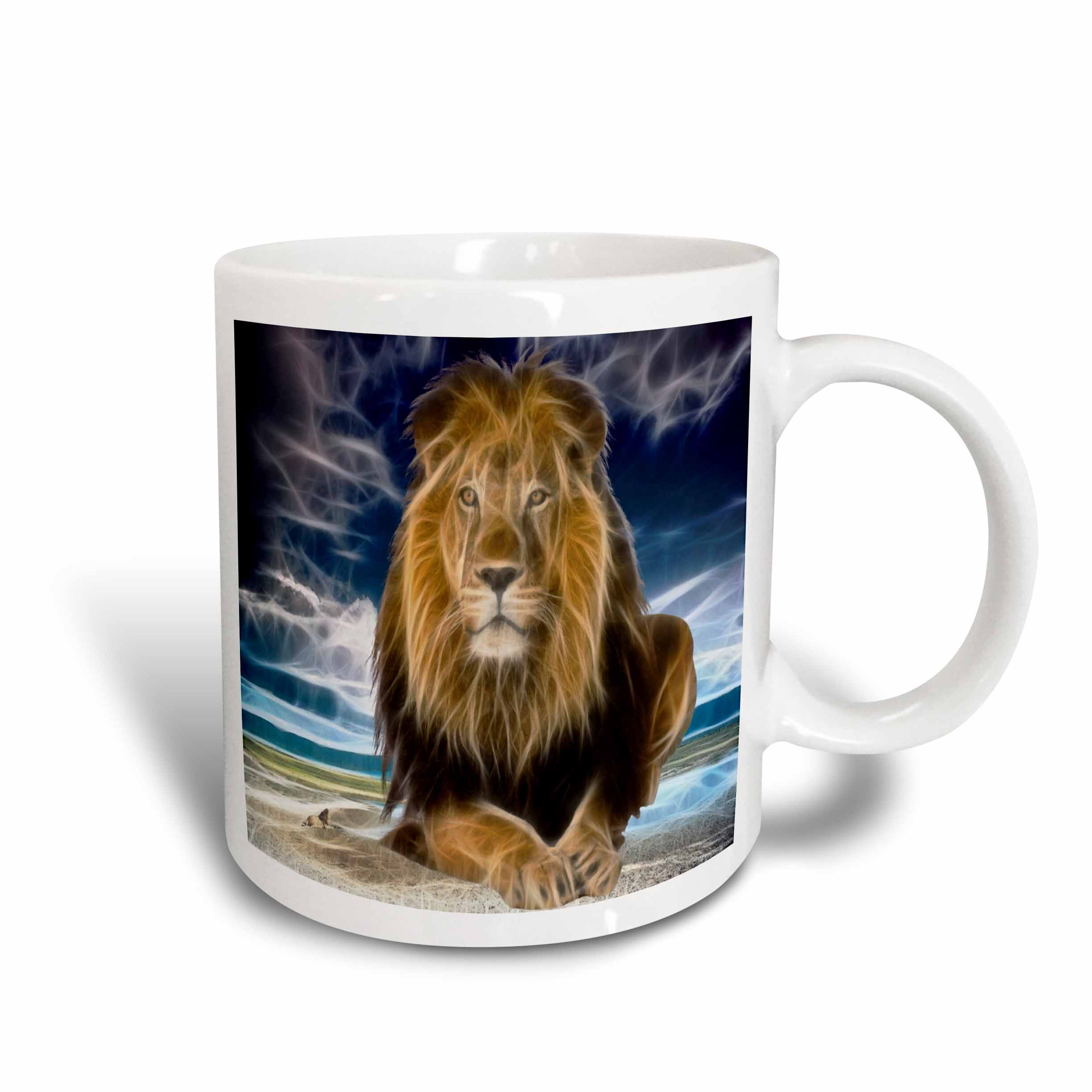 3dRose King of the jungle, stunning lion on the prairie with digital affects, Ceramic Mug, 11-ounce