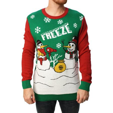 Ugly Christmas Sweater Men's Freeze Pullover - Superman Christmas Sweater