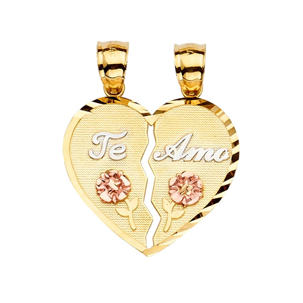 14K Tri Color Gold CZ Teamo Heart Pendant