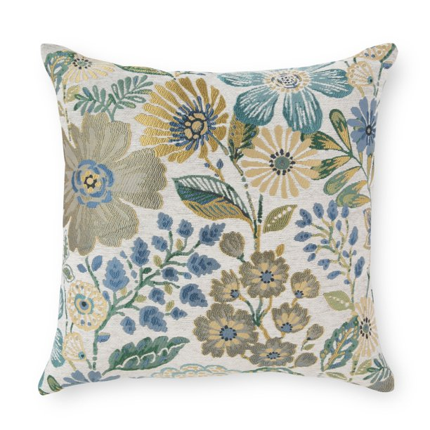 Better Homes Gardens Garden Blossoms Decorative Throw Pillow 20 X 20 Blue Walmart Com Walmart Com