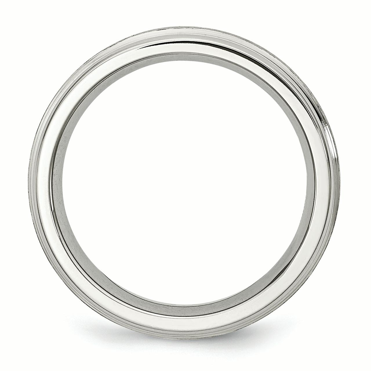 Stainless Steel Grooved Edge 6mm Wedding Ring Band Size 11.00 Fashion Jewelry Gifts For Women For Her - image 2 de 5