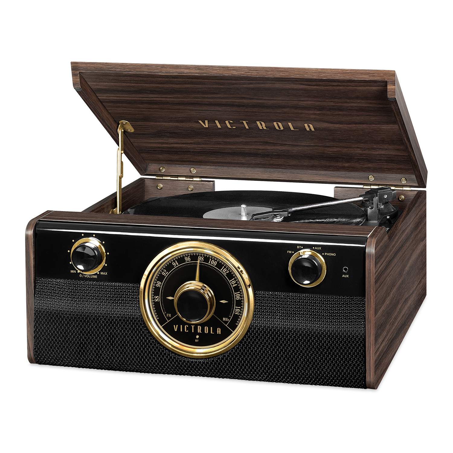 Victrola Wood Bluetooth Mid Centry Record Player with 3-speed Turntable and Radio