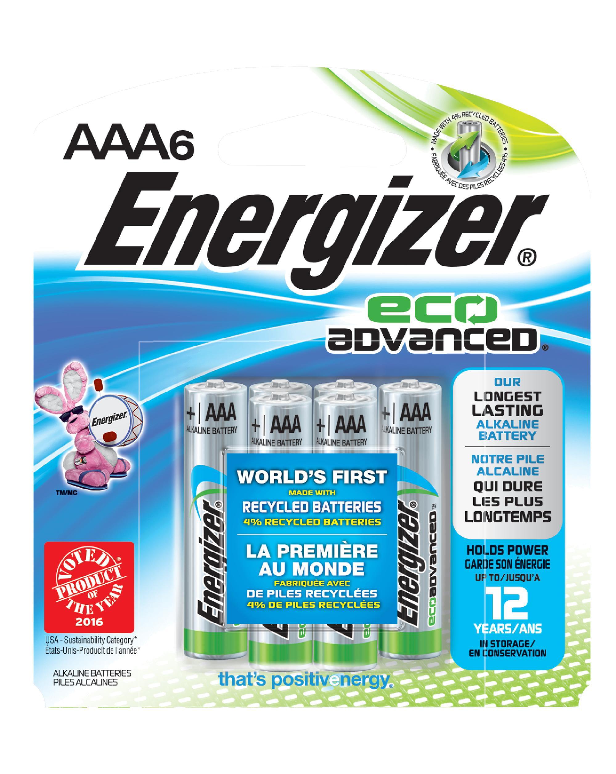 Energizer EcoAdvanced AAA Batteries, 6-Pack