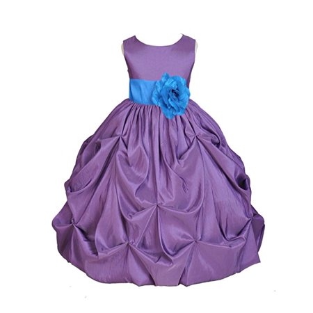 - Ekidsbridal Purple Satin Taffeta Pick-Up Bubble Flower Girl Dress Birthday Girl Dress Princess Dresses Ballroom Gown Special Occasion Dresses Easter Summer Dresses Pageant Gown Daily Dresses 301S