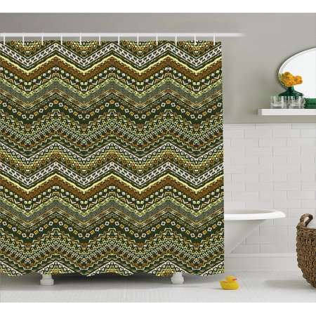 Zambia Shower Curtain African Style Chevron Pattern With Tribal Elegance Ornament Design Fabric Bathroom