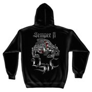 Semper Fi USMC Bulldog Sweatshirt by , Black, XL