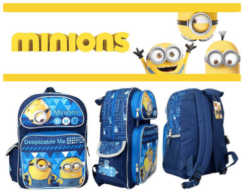 """Despicable Me Minions 16/"""" Large School Backpack  Book Bag Minions Face Design"""