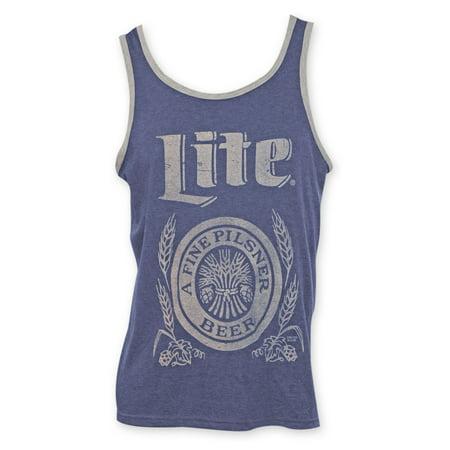 Miller Lite Beer Logo Men's Blue Retro Tank Top