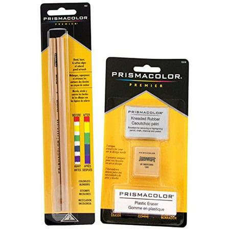 Pencils Colorless Blender (Prismacolor 2 Piece Premier Colorless Blender Pencils Plus 3 Eraser Set Bundle )