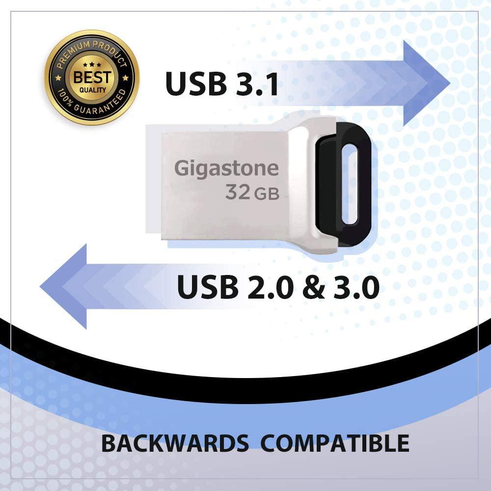 USB 2.0 // USB 3.0 Interface Compatible Mini Fit Metal Waterproof Compact Pen Drive 32GB USB 3.1 Flash Drive Gigastone Z90 Reliable Performance Thumb Drive 2-Pack