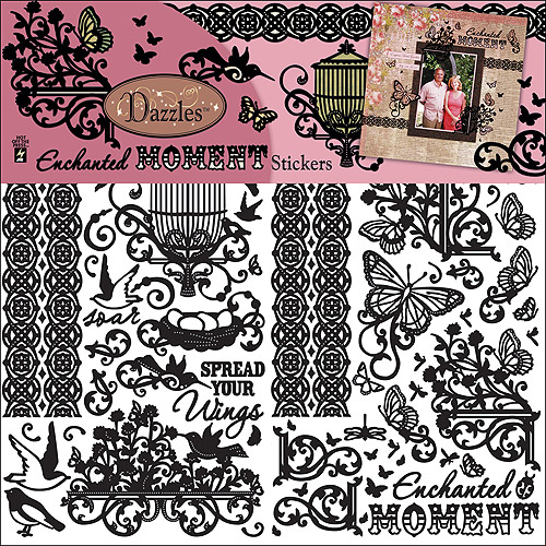 "Dazzles Stickers 6""X9"" 3 Sheets-Black Enchanted Moment"