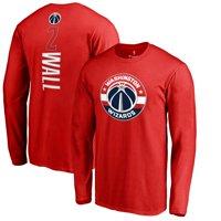 John Wall Washington Wizards Backer 3 Name & Number Long Sleeve T-Shirt - Red
