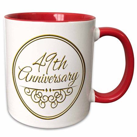 3dRose 49th Anniversary gift - gold text for celebrating wedding anniversaries - 49 years married together - Two Tone Red Mug, (30 Year Wedding Anniversary Gift Ideas For Wife)