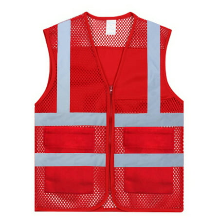 GOGO US Adult Mesh Volunteer Vest Zipper Front Safety Vest with Reflective Strips and Pockets