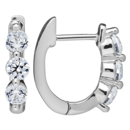 14k Solid White Gold Earrings Round Cut Huggie Hoop 3 Stone Cubic Zirconia 48 Ctw With Gift Box