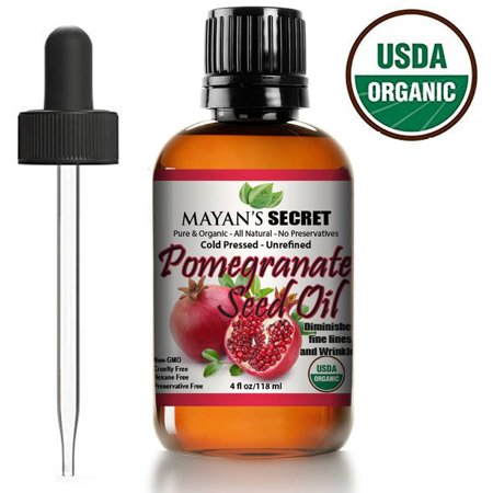 USDA Certified Organic Pomegranate Seed Oil for Skin Repair -Large 4oz Glass Bottle  Cold Pressed and Pure Rejuvenating Oil for Skin, Hair and Nails Hair Pressing Oil