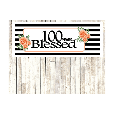 Number 100- 100th Birthday Anniversary Party Blessed Years Wall Decoration Banner 10 x 50inches](100 Birthday)