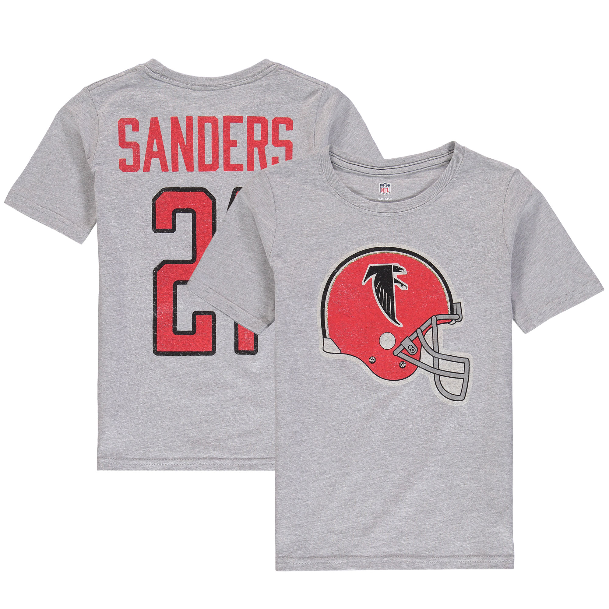 best service 1ebfc 98356 Deion Sanders Atlanta Falcons Youth Retired Player Vintage Name & Number  T-Shirt - Heathered Gray