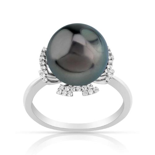 Radiance Pearl 14k Gold Tahitian South Sea Pearl and Diamond Ring (G-H, SI1-SI2) Yellow Gold Ring Size 8 by Overstock