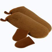 Belloccio Set of 4 Premium Self Tanning Applicator Mitts; 2 Double Sided Premium Large Mitts and 2 Mini Facial Tanning