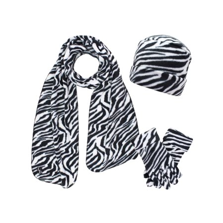 Black & White Zebra Print Fleece Hat Scarf & Matching Glove Set ()