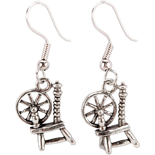 Cedar Creek Quilt Designs Charming Accents French Wire Earrings, Spinning Wheel