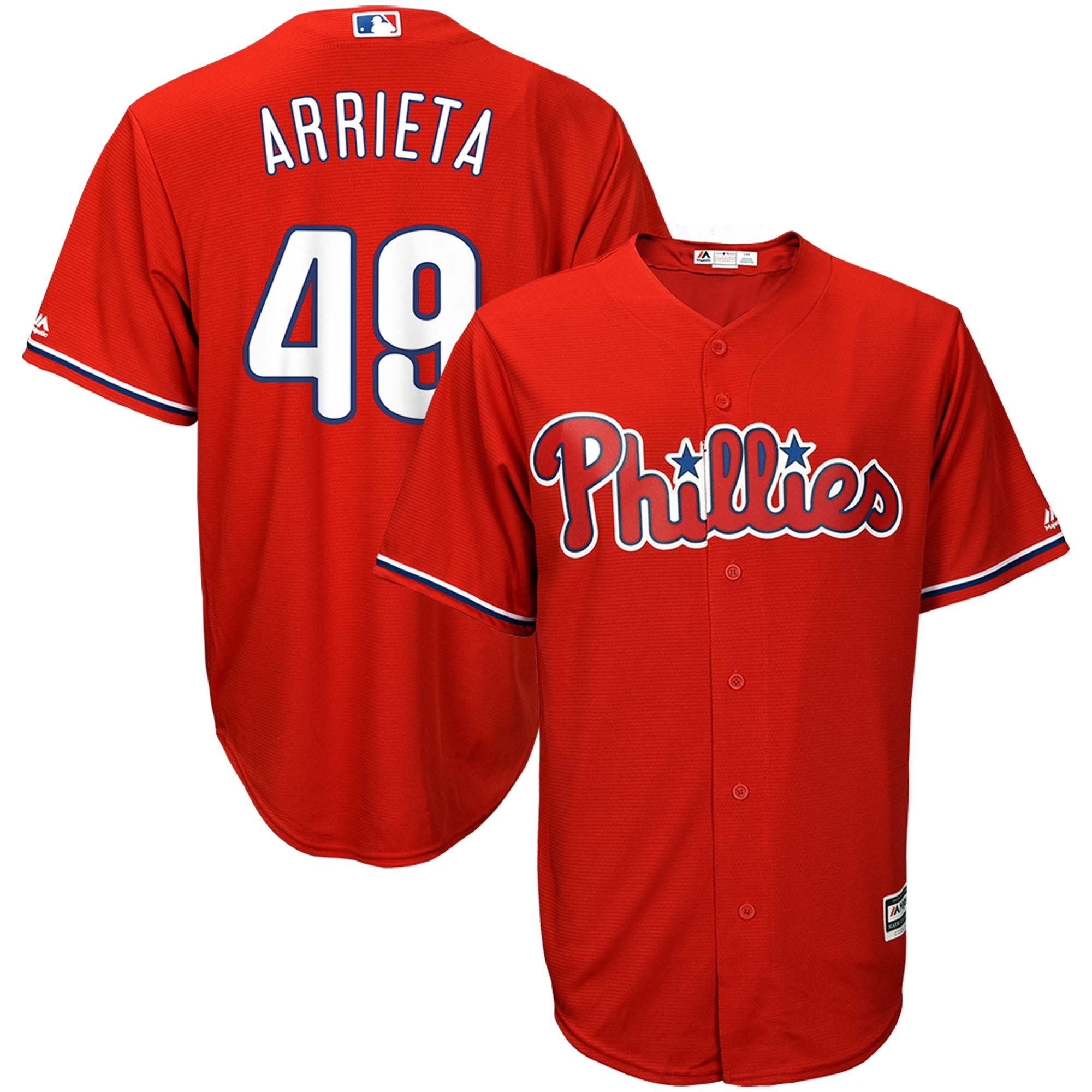 Jake Arrieta Philadelphia Phillies Majestic Fashion Official Cool Base Player Jersey - Scarlet