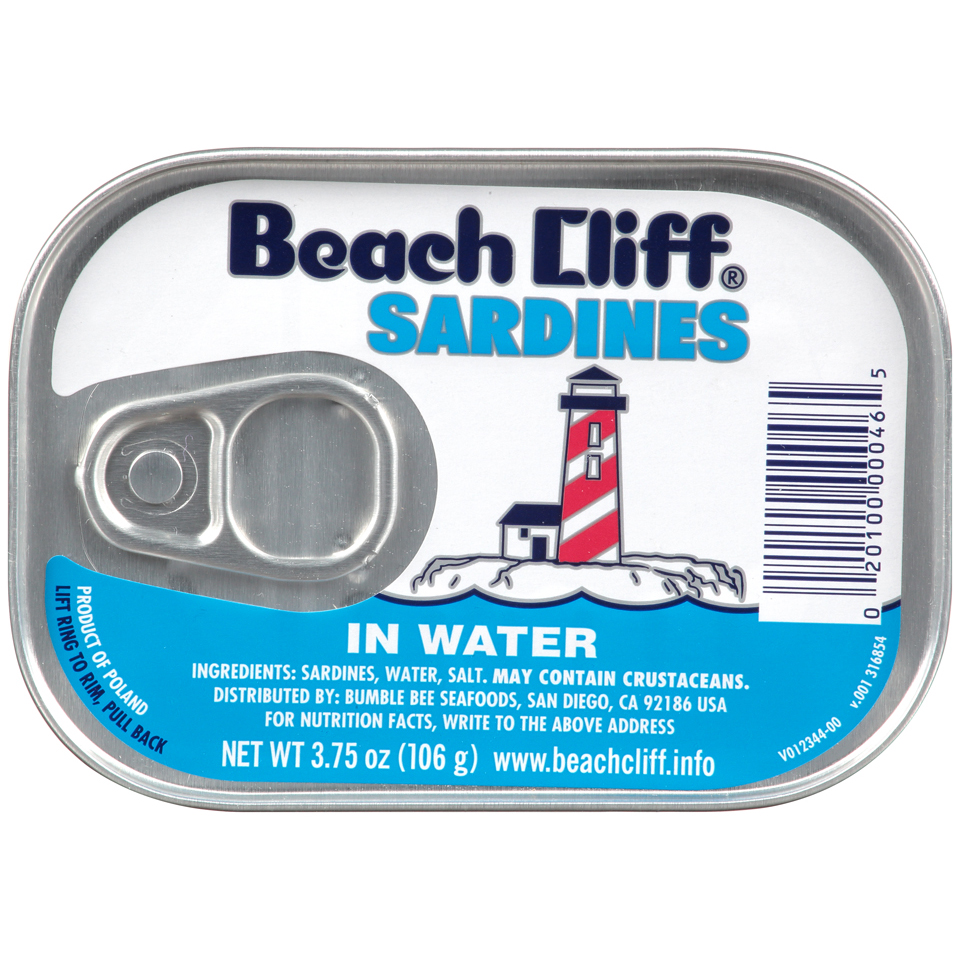Beach Cliff Sardines in Water, 3.75 oz Can