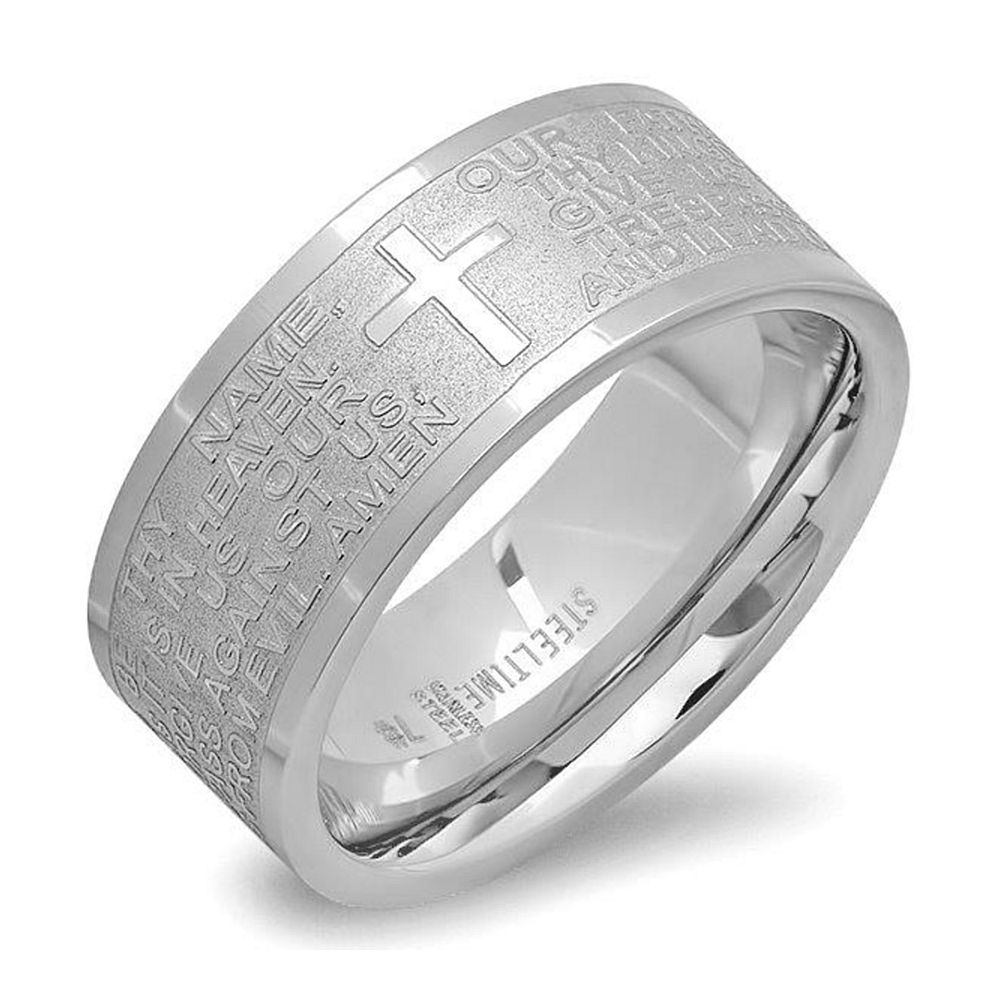 stainless steel bible lord's prayer cross wedding band 8mm wide