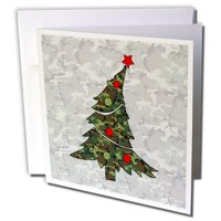 3dRose Camouflage with Cute Leaning Christmas Tree with a Military Theme - Greeting Cards, 6 by 6-inches, set of 12