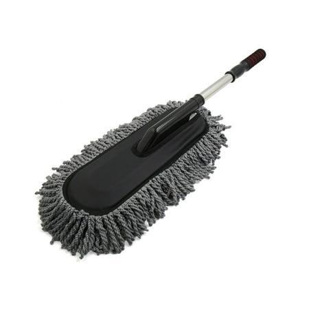 Gray Microfiber Telescoping Flat Brush Duster Wax Mop Car