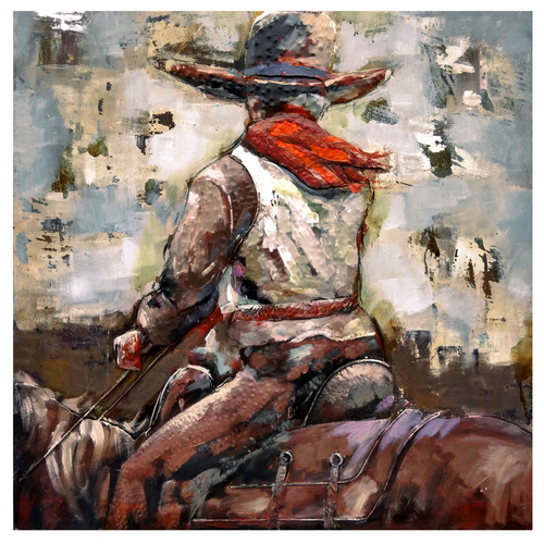Lone Rider 40 Inch by 40 Inch Painted Canvas Wall Art