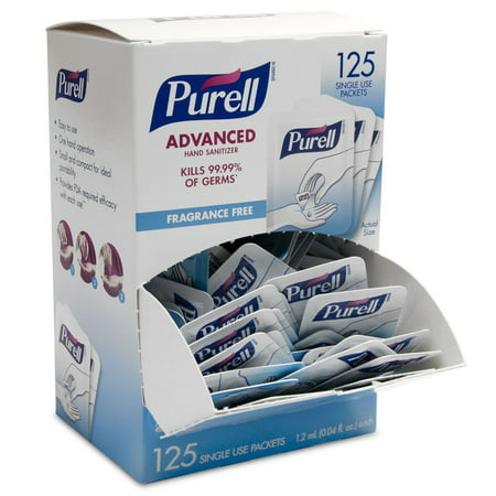 PURELL® Advanced Hand Sanitizer Single Use Packets, Self Dispensing Display Box, 125 Count